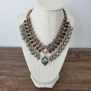 Green And Purple Crystal Collar Necklace